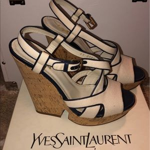 YSL Navy Trim Canvas Wedges